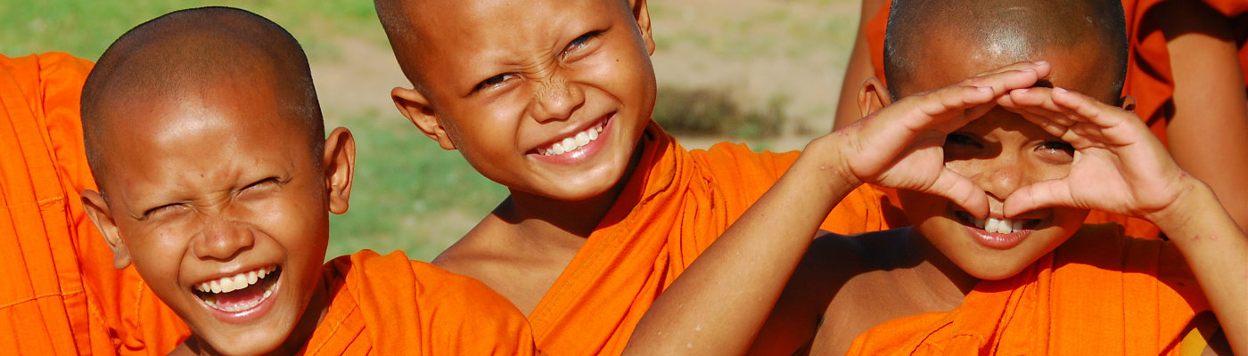 Header: Laughing young monks